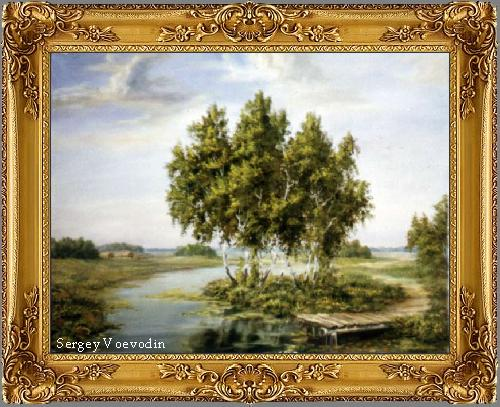 Birches and bridge painting art russia
