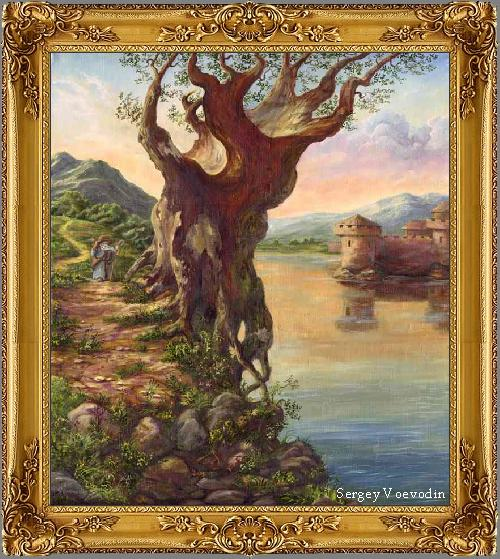Old tree at water - painting art russia