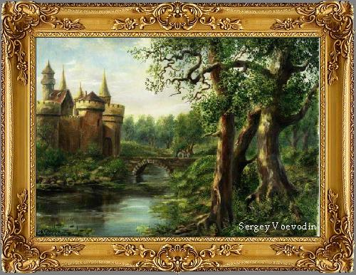 Castle in forest painting art russia