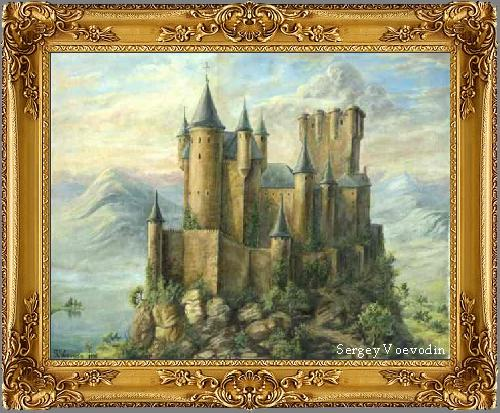 Castle in the Mountains - painting art russia