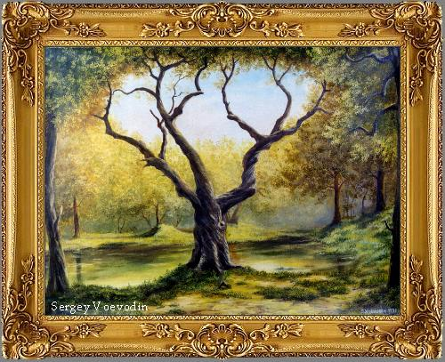Old tree painting art russia